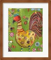 Framed Green Rooster
