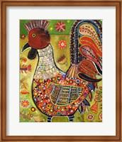Framed Olive Rooster