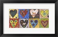 Framed Eight Flat Hearts