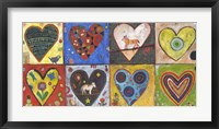 Framed Eight Flat Hearts