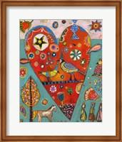 Framed Love Birds Heart