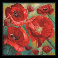 Framed Red Poppies Bloom of Joy