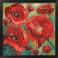 Framed Red Poppies Bloom of Joy