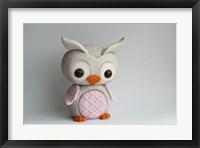 Framed Owl Baby Pink Barn Owl