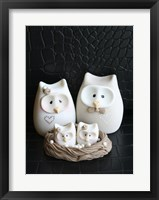 Framed Owl Family Taupe