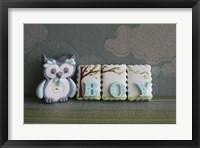 Framed Owl Quilled Boy