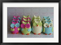 Owls Multi Color Brights Large Set Framed Print