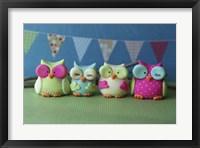 Owls Multi Color Brights Framed Print