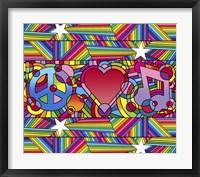 Framed Peace Love Music D