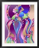 Framed Art Deco Lady Bird