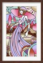 Framed Art Deco Lady Stroll