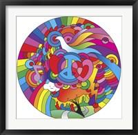 Framed Peace Love Music Circle