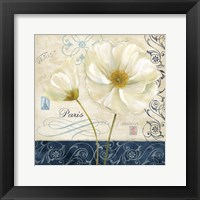Paris Poppies Blue Trim II Framed Print