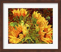 Framed Four Sunflowers