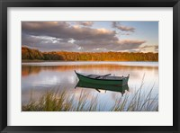 Framed Green Boat on Salt Pond