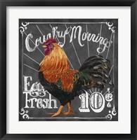 Framed Rooster on Chalkboard I