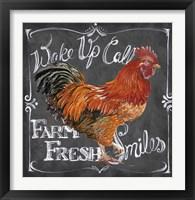 Framed Rooster on Chalkboard II