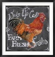 Framed Rooster on Chalkboard II