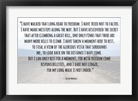 Framed Road to Freedom - Nelson Mandela Quote