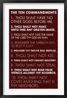 Framed Ten Commandments - Red Grunge