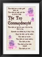 Framed Ten Commandments - Floral