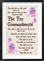 Framed Ten Commandments - Floral