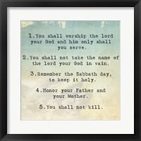 Framed Ten Commandments 1-5