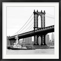 Framed Manhattan Bridge with Tug Boat (b/w)