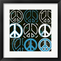 Peace Mantra (Blue) Framed Print
