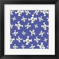 Skull Pattern Blue Framed Print