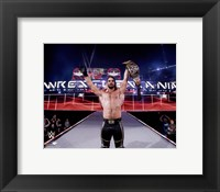Framed Seth Rollins with the Championship Belt Wrestlemania 31