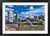 Framed Symbol of Singapore and Downtown Skyline in Fullerton area, Clarke Quay, Merlion