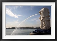 Framed Singapore Merlion statue in the Merlion Park