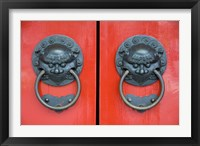 Framed Pair of Door Knockers, Buddha Tooth Relic Temple, Singapore