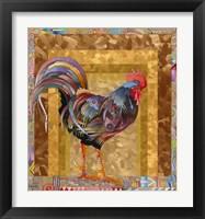 Framed Metallic Rooster