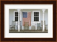 Framed Chair Family With Flag