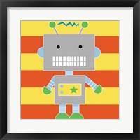 Robot - Stripes Framed Print