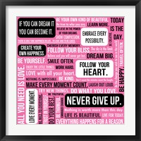 Never Give Up 1 Framed Print