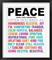 Peace Definition Framed Print