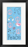 Peace Panel - Blue Framed Print