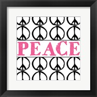 Framed Peace - Pink with Peace Signs