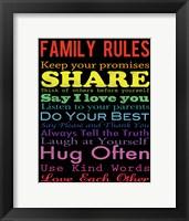 Family Rules 2 Framed Print