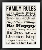 Family Rules 3 Framed Print