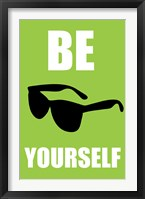 Be Yourself - Green Framed Print