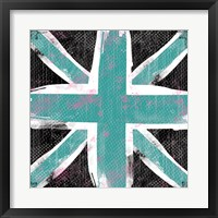 Union Jack Blue and Black Framed Print