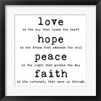 Love Hope Peace Faith 1 Framed Print