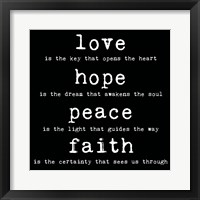 Love Hope Peace Faith 2 Framed Print