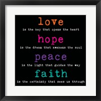 Love Hope Peace Faith 3 Framed Print