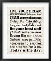 Framed Live Your Dream 8