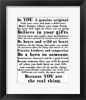 Be Genuine 2 Framed Print